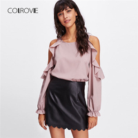 COLROVIE Open Shoulder Frill Trim Blouse Spring Round Neck Long Sleeve Female Clothing 2018 New Casual