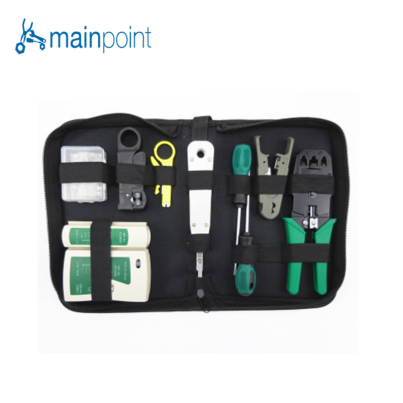 Mainpoint 11Pcs Computer Network Tool Repair Kit.Network Combination Cable Wire Tester Crimping Cutter Punch Down Hand Tools ratchet cable wire cutter cut up to 240 hs 325a plier hand tools