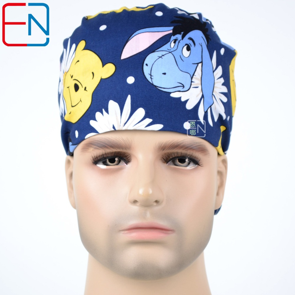 Surgical Caps For  Doctors And Nurses 100%  Cotton Scrub Cap For  Short Hair With Sweatbands