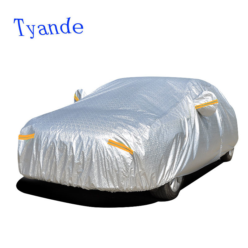 Tyrande bâches de voiture pour la voiture solaire/pluie/étanche/neige/protection uv/anti-poussière en aluminium film + coton bâche de voiture
