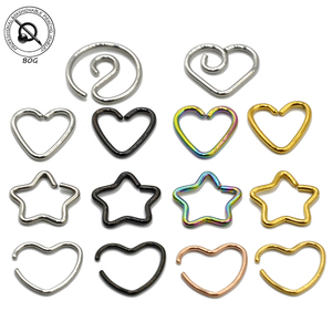 BOG-4PCS Surgical Steel Daith Heart Star Yingyang Ear Tragus Ear Cartilage Helix Earring Body Piercing Fine Jewelry 16G