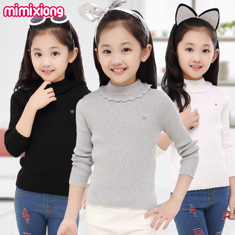 Little Girls Turtlenecks Swetry Jesień Outwear Cotton Kids Swetry z dzianiny Winter Thermal Kids Knitwear Coat Full Sleeve