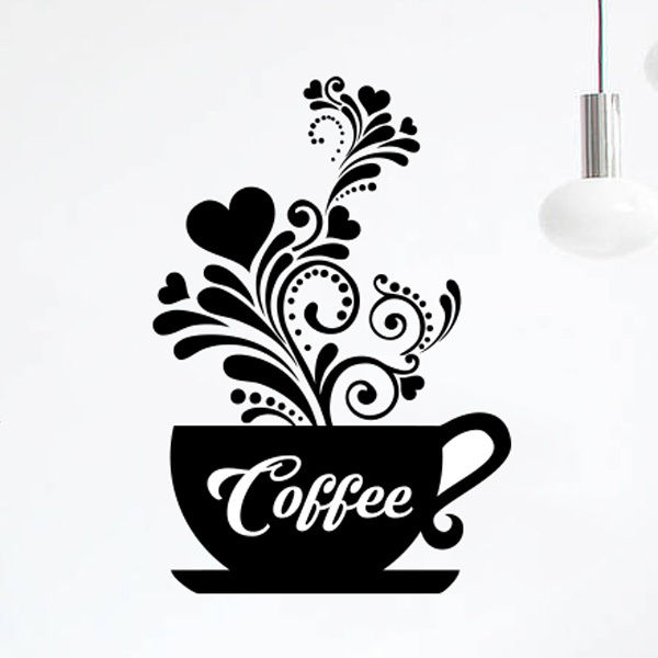 Wall Art Love Tea Cups Kitchen Sticker Coffee Vinyl Decal