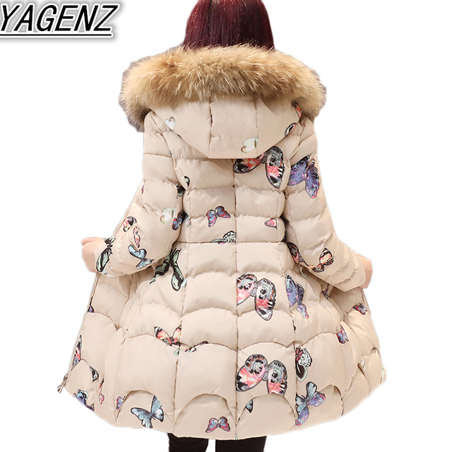 Plus size Winter Jackets Women Butterfly Print Down Jacket Coat 2018 Thicken  Warm Hooded Cotton Jacket Women Cotton-padded Coats 8d5bd016a