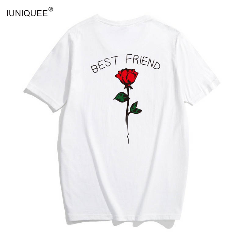 23c9e038e Women Plus Size Best Friend Letter Rose On Back Print T Shirts Large Tops  Female Girls Stylish Pullover Tee T shirt Clothes 4XL-in T-Shirts from  Women's ...