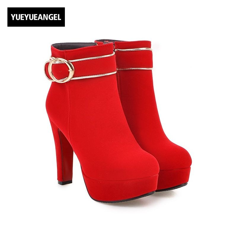 Winter Bride Wedding Shoes Red Buckle Design Faux Suede Womens Ankle Boots Round Top Retro Ladies Footwear Christmas Botas Mujer