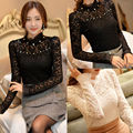 Korean Fashion Lady Women Blouse Clothing Slim Chiffon Lace Pearl Tops Long Sleeve Shirts Casual Blouse Lace New Formal Elegent