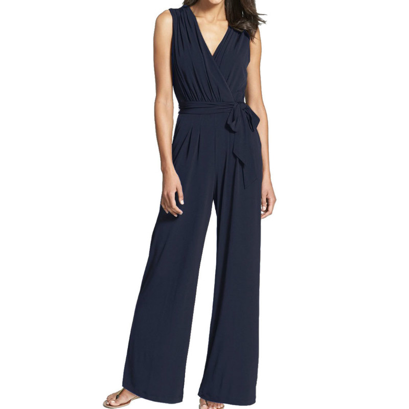 Zipper Sleeveless Women   Jumpsuits   V-neck Sashes Fashion Office Lady   Jumpsuit   Summer Wide Leg Pants Casual Rompers New GV753