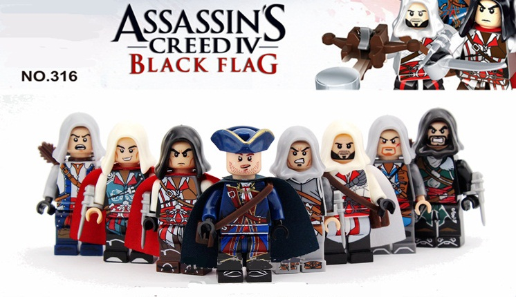 ФОТО 8pcs/set minifigures building blocks sets china brand assassins creed compatible with lego