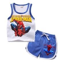 Г., летний комплект одежды с рисунком Человека-паука для мальчиков и девочек, детский жилет с рисунком, шорты Повседневный комплект детской спортивной одежды из 2 предметов
