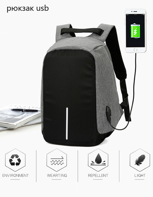 b4fd08bbebf 15 inch Laptop Backpack USB Charging Anti Theft Backpack Men Travel Backpack  Waterproof School Bag Male Mochila