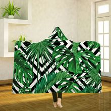 Hooded Blankets Magic Hat Blanket Thick Double-layer Plush 3D Digital Printing Abstract leaves Series