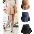 2016 Casual Pleated Maternity Prop Belly Skirts Korea Style Short Skirts for Pregnant Women Solid Chiffon Pregnancy Clothing 357