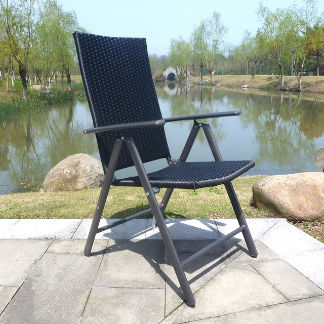 Adjule Portable Summer Deck Chairs Beach Chair Aluminum Folding Lunch Nap Outdoor Leisure Rattan Loungers