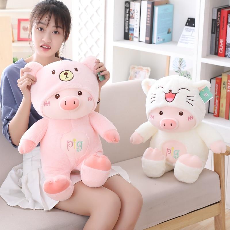 30cm/40cm/50cm Cute Pig Plush Toys Stuffed Animals Plush Pig can transform into a cat bear dog Girls Gifts Children Doll Toys thumbnail