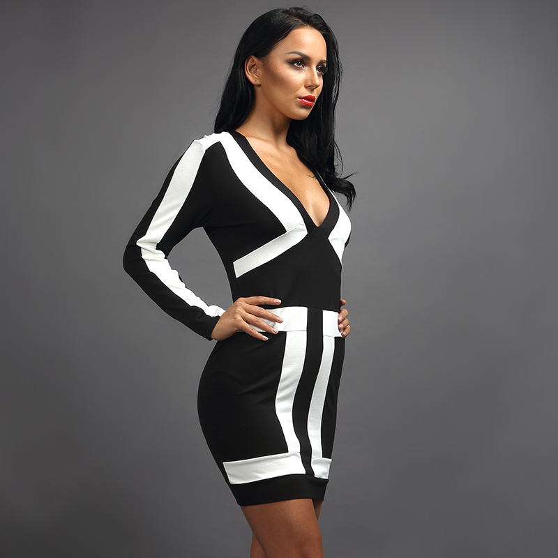 Long sleeve color block dresses for women