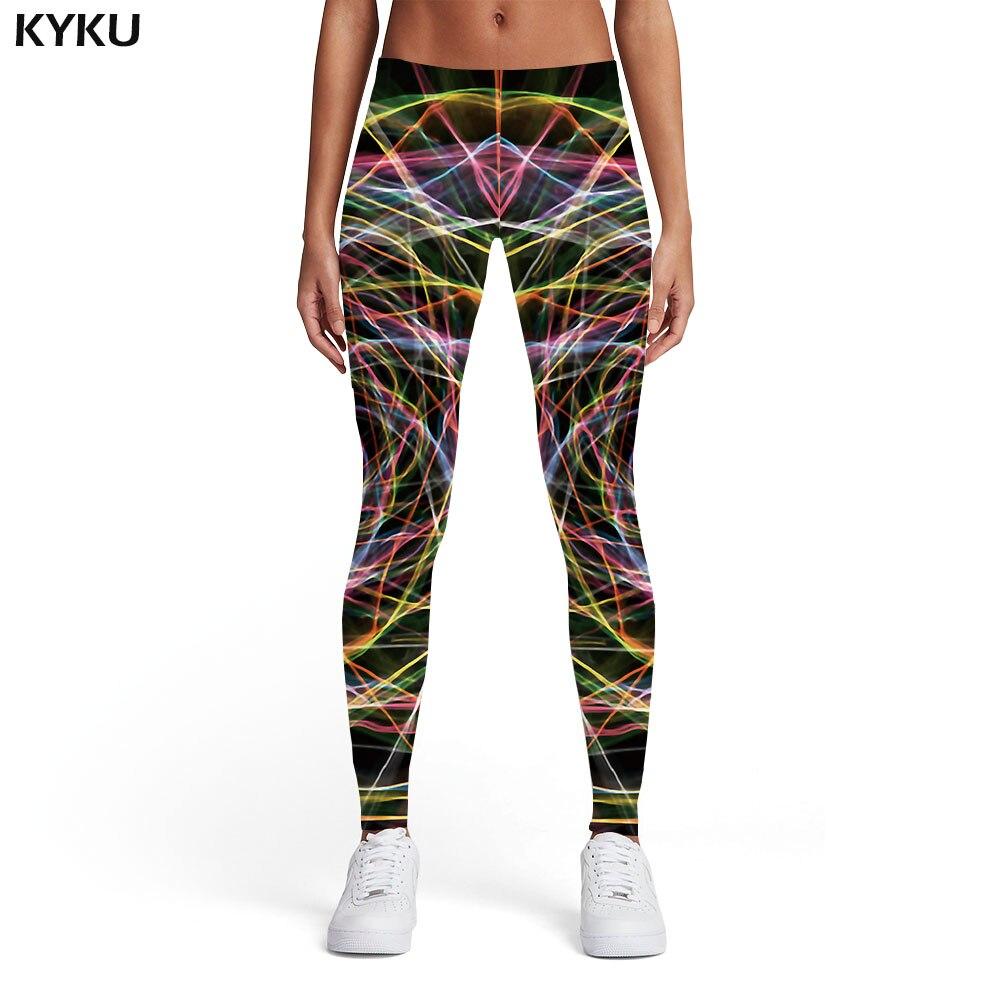 KYKU Brand Psychedelic Leggings Women Dizziness Printed Pants Galaxy 3d Print Abstract Leggins Graffiti Ladies