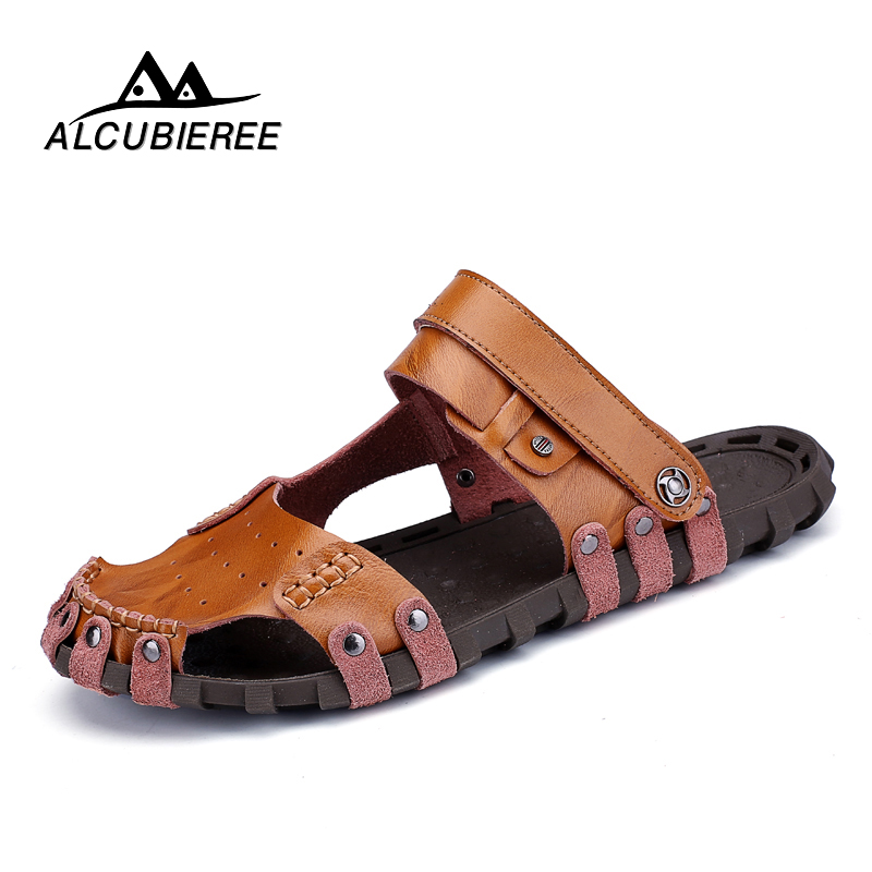 ALCUBIEREE Men's Breathable Men's Sandals Shoes Made of  Leather Summer Designer Beach  Designer Casual Slippers for Men