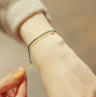 female accessories gentle metal pendant of love double layer pattern bracelet