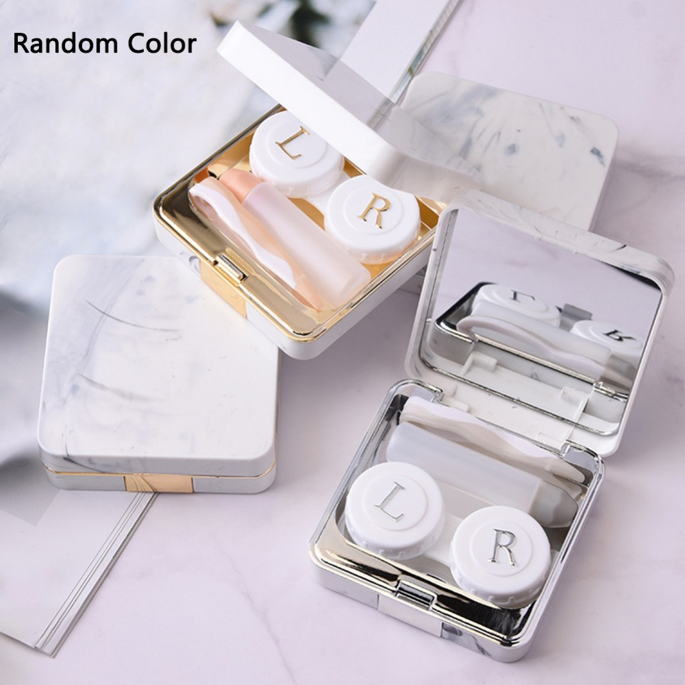 Contact Lens Case Marble Surface Square Mirror Cover Contact Lens Case Travel Container Holder makeup Tools Random Color