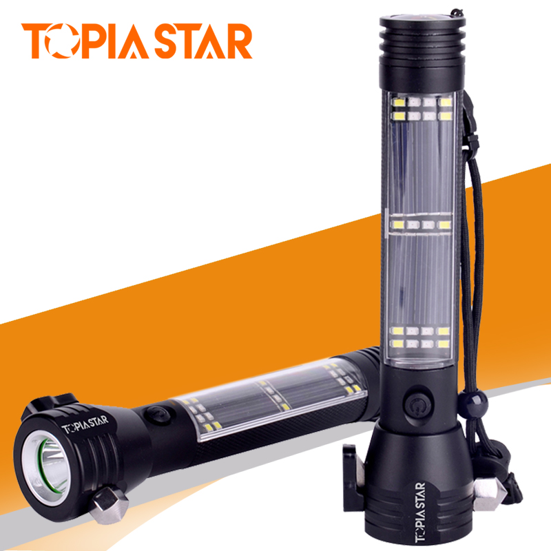 TOPIA STAR Multi-function Solar Flashlights Water Resistant Portable Tool Light Torch 7 Light Modes With Magnetic Compass free basket derui sonic cleaners with multi function water proof dr p40 4l