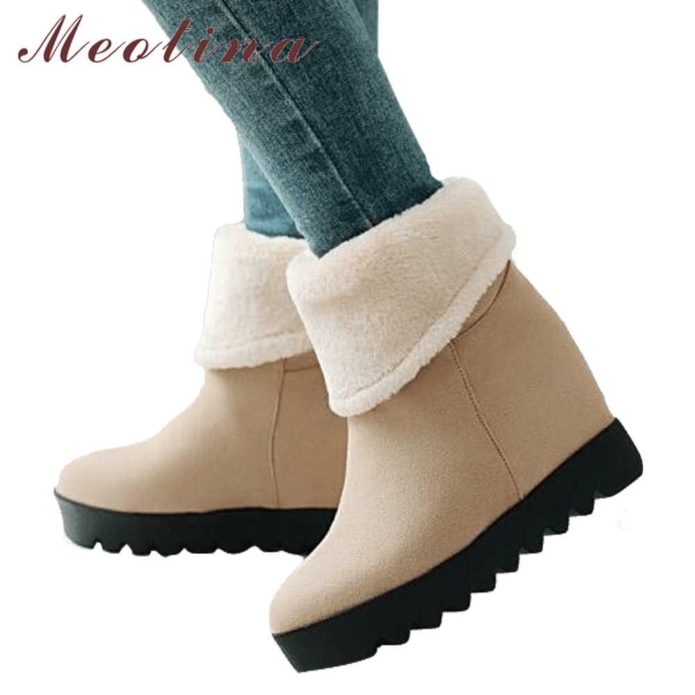 Meotina Orta Buzağı Çizmeler Kış Kar Botları Kış Kadın Kürk Platform Kama Çizmeler Yüksek Topuklu Sıcak Bayan Platform ayakkabılar Sarı Siyah