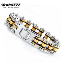 2019 stainless steel bicycle chain men bracelet gold black punk mens big male charm bracelets on han dsnap button jewelry