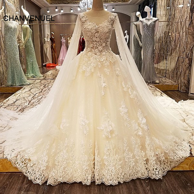 LS89573 luxury lace crystal wedding dresses beading ball gown O neck ...