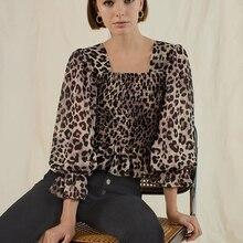 OOTN Ruffle Elastic Leopard Blouse Women Shirts Lantern Long Sleeve Square Collar Tunic Animal Print Top Peplum 2019 Vintage