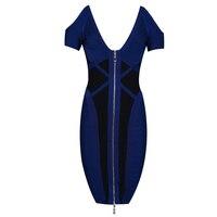 Rayon Ocstrade Bandage Dress High Effect Qaulity 2017 New Women S Fashion Denim Blue Dark Bandage
