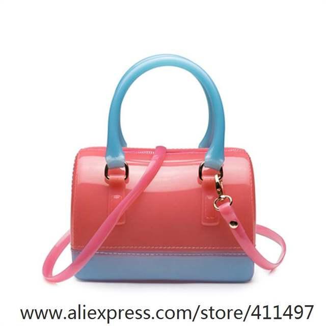 062414fe9 Xianjian Hot New Boston Em Forma Silicone Jelly Colorblock Bolsa Da Praia  Saco Ocasional de Embreagem