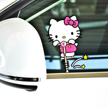 Volkrays Car Accessories Cartoon Hello Kitty Sport Sticker Decal Decoration for Motorcycle Trolley Case Fridge Focus Nissan Bmw(China)