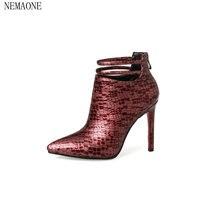 NEMAONE ankle boots rebanho elegante sexy mature conveniente zíper finos saltos altos mulheres moer arenoso botas femininas de inverno