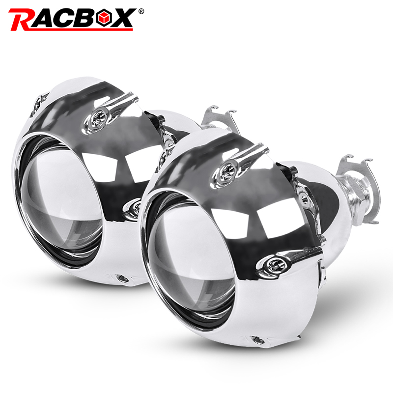 RACBOX 2Pcs 2.5 Inch Universal Bi Xenon HID Projector Lens with Silver GTI Shrouds H4 H7 Motorcycle Car Headlight Projector lens new m803 2 5 car motorcycle universal headlights hid bi xenon projector kit and m803 hid projector lens for free shipping