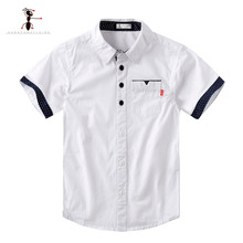 Kung Fu Ant 2019 New Summer  Short Sleeve Solid color White Boys Students Clothing Shirts Fashion Oxford Textile Cotton Kids Top цена 2017