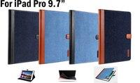 Di alta Qualità Nuovo design Jean + PU Case Cover In Pelle Per iPad Pro 9.7 pollice jean copertura Tablet di protezione della pelle accessori + regali