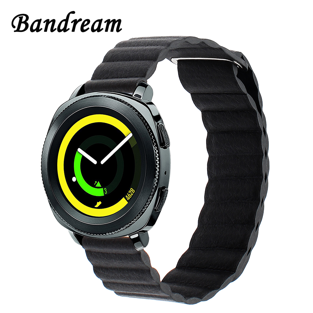 Genuine Leather Loop Watchband 20mm for Samsung Gear Sport SM-R600 Magnetic Buckle Watch Band Quick Release Strap Wrist Bracelet survival bracelet hand ring strap weave paracord buckle emergency quick release for outdoors