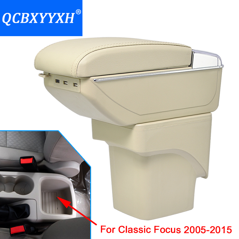 Cover For Ford Classic Focus 2005-2015 Armrest Box Central Store Content Box Cup Holder Interior Car-styling Products Accessory for kia forte 2009 2017 abs with pu armrest box central store content box cup holder interior car styling products accessory