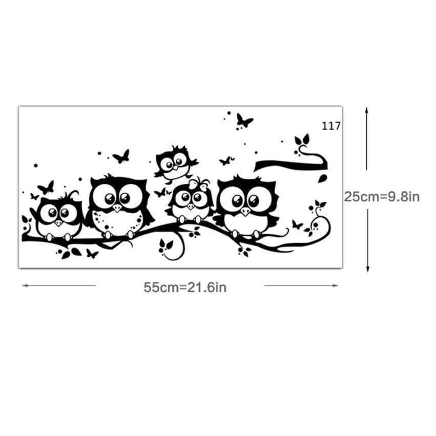 الجدار ملصق شجرة الحيوانات نوم البومة فراشة ملصقات جدار ديكور المنزل غرفة المعيشة فراشة للأطفال غرف vinilos paredes 20