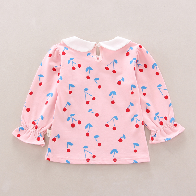 Autumn Baby Girls Clothes Floral Cherry Print Long Sleeve T shirt Blouse Trousers Bottoms Casual Outfits in Clothing Sets from Mother Kids