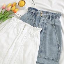 Elastic Waist Summer Women Denim Skirt Pockets Sexy White High waist jeans Skirts A-line Casual Ruffles Female mini saia mujer
