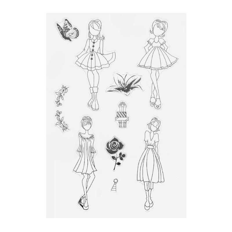 Skirt Girls Transparent Silicone Stamp Clear Stamp for Scrapbooking Decorating Craft Album Diary Book DIY Paper Card Gift lovely animals and ballon design transparent clear silicone stamp for diy scrapbooking photo album clear stamp cl 278