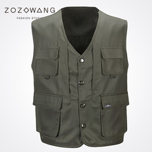 New Zozowang solid casual Single Breasted loose spring autumn vest men fashion Big pocket short 2XL waist coat Khaki
