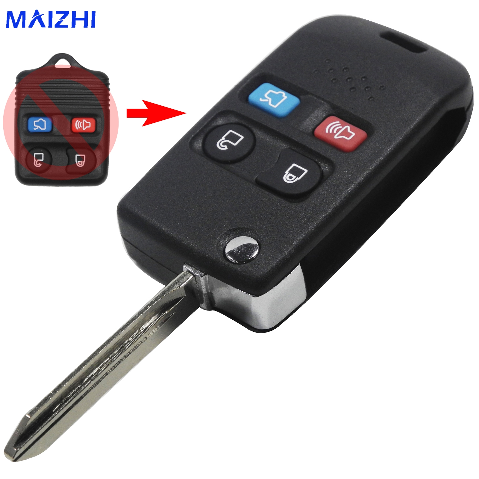 maizhi 4 Buttons Modified Remote Folding Flip Key Shell for Ford Crown Victoria Escape ExpeditionExplorer Sport Car Styling