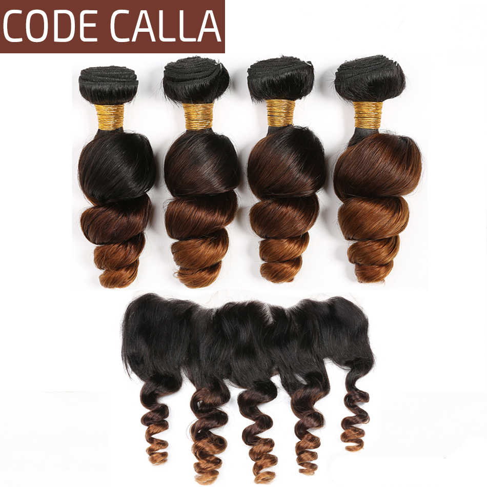 Code Calla Loose Wave Hair Bundles With Lace Frontal Ombre Color Free Part Brazilian Raw Virgin Human Hair Bundles With Frontal
