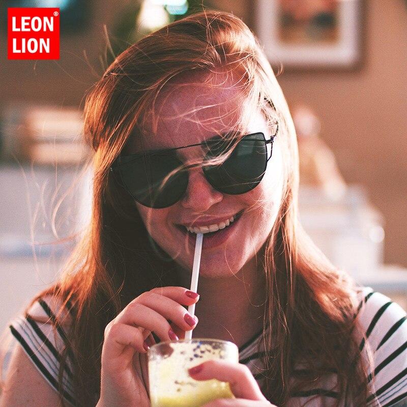 LeonLion 2019 Brand Designer Cat Eye Sunglasses Women Vintage Metal Reflective Glasses For Mirror Retro Oculos De Sol