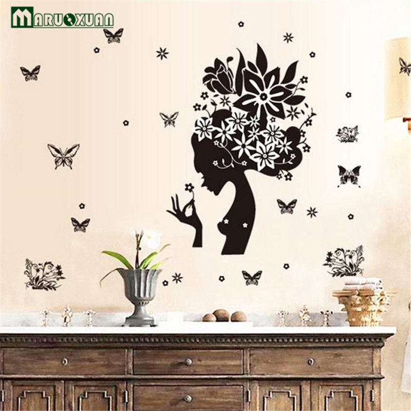 MARUOXUAN Romantic Butterflies Flowers Woman Wall Sticker Living Room  Bedroom Removable Home Decoration Vinyl Mural Wall Decals In Wall Stickers  From Home ... Part 63