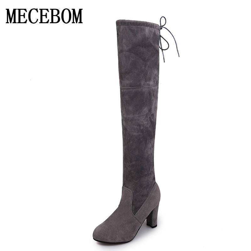 2018 Faux Suede Slim Boots Sexy over the knee high women snow boots womens fashion winter thigh high boots shoes woman 1688W