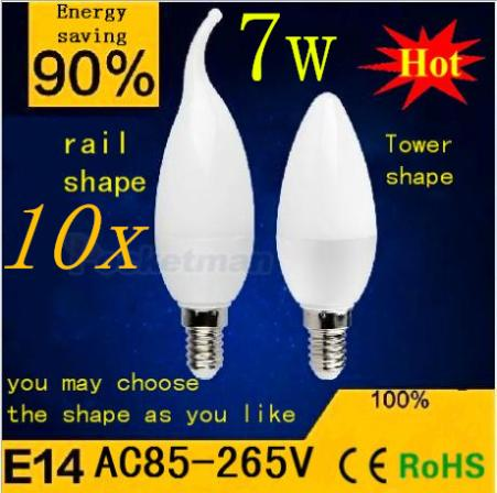 E14 2835 LED candle light lamp High Power 7W 10smd warm/cool white bulb indoor chandlier pendant super bright x10