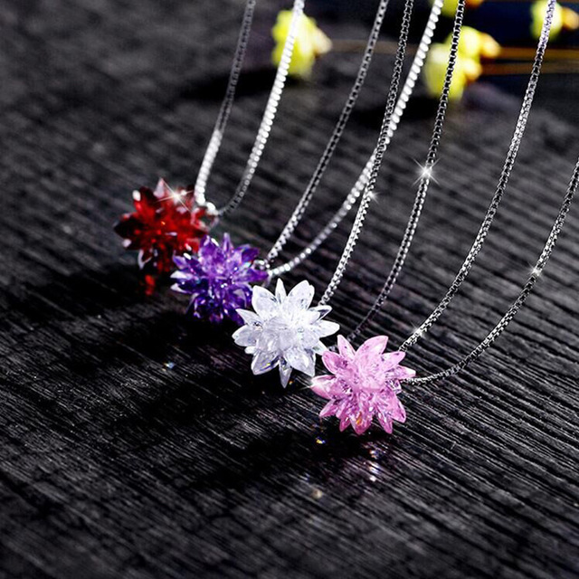 4color Fashion jewelry Best Quality 925 silver Crystals From Swarovski Pendant Necklaces Women Handmade Wedding necklace